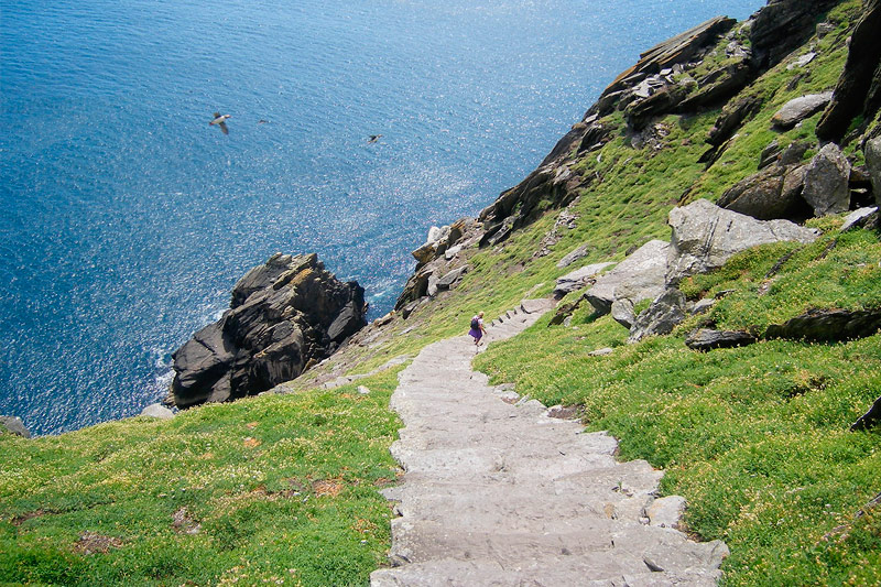 Looking down the steps of Skellig Michael