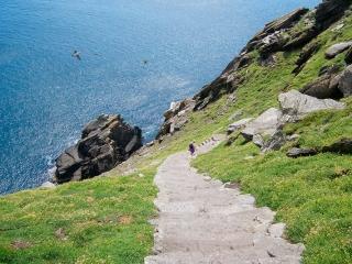 Looking down the steps of Skellig Michael